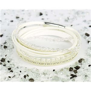 Bracelet manchette Mode Chic aspect Cuir et Strass L38cm fermoir Aimanté New Collection 76317