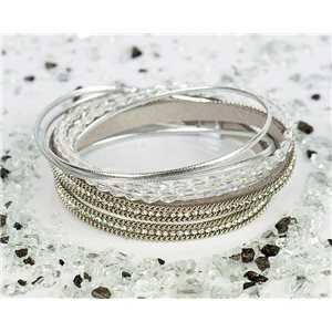 Bracelet manchette Mode Chic aspect Cuir et Strass L38cm fermoir Aimanté New Collection 76318