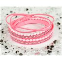 Cuff Bracelet Fashion Chic Leather Look and Rhinestone L38cm Magnetic Clasp New Collection 76319