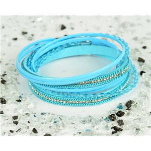 Cuff Bracelet Fashion Chic Leather Look and Rhinestone L38cm Magnetic clasp New Collection 76320