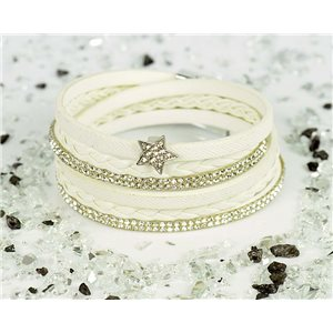 Bracelet manchette Mode Chic aspect Cuir et Strass L38cm fermoir Aimanté New Collection 76323
