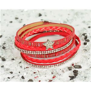 Cuff Bracelet Fashion Chic Leather Look and Rhinestone L38cm Magnetic clasp New Collection 76326