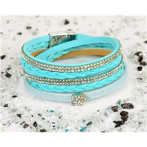 Bracelet manchette Mode Chic aspect Cuir et Strass L38cm fermoir Aimanté New Collection 76327