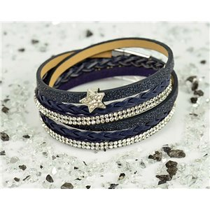 Bracelet manchette Mode Chic aspect Cuir et Strass L38cm fermoir Aimanté New Collection 76322