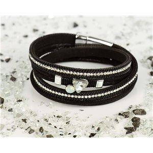 Bracelet manchette Mode Chic aspect Cuir et Strass L38cm fermoir Aimanté New Collection 76328