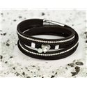 Cuff Bracelet Fashion Chic Leather Look and Rhinestone L38cm Magnetic clasp New Collection 76328
