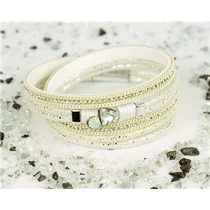 Bracelet manchette Mode Chic aspect Cuir et Strass L38cm fermoir Aimanté New Collection 76329