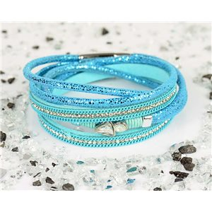 Bracelet manchette Mode Chic aspect Cuir et Strass L38cm fermoir Aimanté New Collection 76333