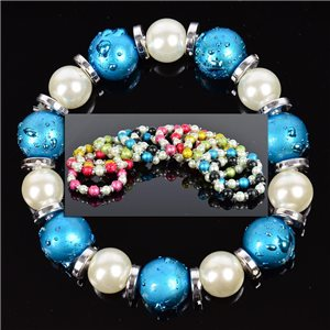 Lot of 12 Bracelets in 6 Colors Pearl and Jewelry on elastic wire 0.70 € each 76337