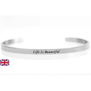 Bracelet Jonc en Acier Inoxydable 76420 Message: Life Is Beautiful