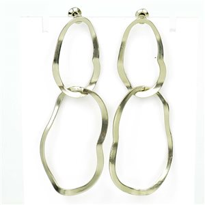 1p Earrings Nail 60mm metal color SILVER New Graphika Trend 76545