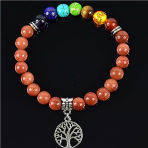 Bracelet Porte Bonheur en Pierre de Sable Collection Charms Arbre de Vie 76622