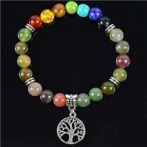 Bracelet Porte Bonheur en Pierre Agate Indina Collection Charms Arbre de Vie 76623