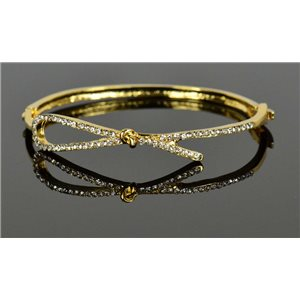 Gold colored metal bracelet Chic Collection set with Rhinestones D55mm clip clasp 76670
