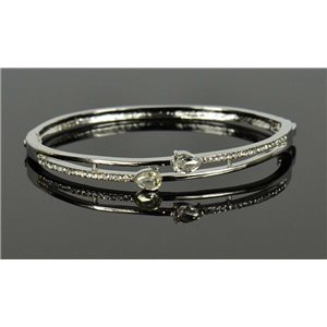 Silver metal bracelet Collection Chic set with Rhinestones D55mm clip clasp 76659