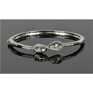 Silver metal bracelet Chic Collection set with Rhinestones D55mm clip clasp 76667