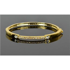 Gold colored metal bracelet Chic Collection set with Rhinestones D55mm clip clasp 76680