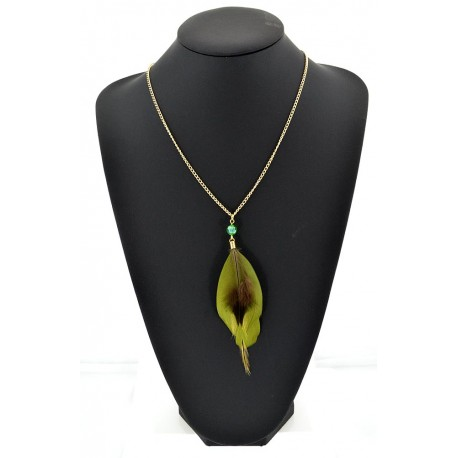 Feather Necklace pendant on a gold chain L60 cm 62319