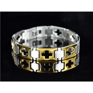 Bracelet gourmette en Acier Inoxydable Collection 2019 Gold & Silver 12mm 21.5cm 76408