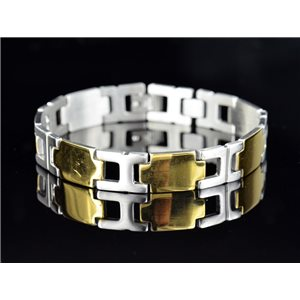 Bracelet gourmette en Acier Inoxydable Collection 2019 Gold & Silver 12mm 21cm 76639
