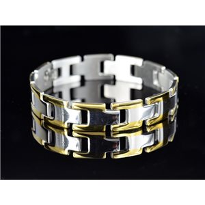Bracelet gourmette en Acier Inoxydable Collection 2019 Gold & Silver 12mm 21cm 76640