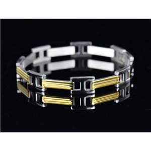 Bracelet gourmette en Acier Inoxydable Collection 2019 Gold & Silver 10mm 21.5cm 76401