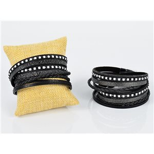 Cuff Bracelet Fashion Chic Leather Look and Rhinestone L38cm Magnetic clasp New Collection 76338