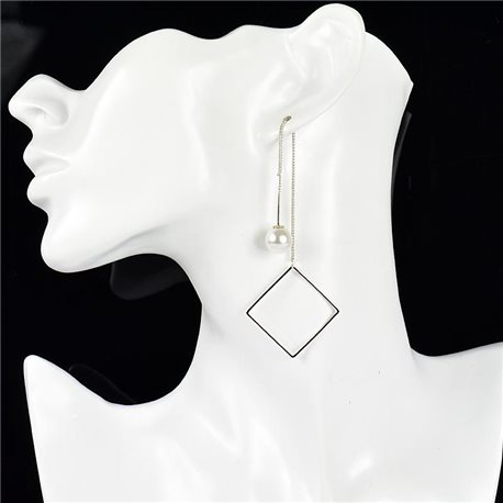 1p earrings pendant earrings metal nail color SILVER New Graphika Style 76097