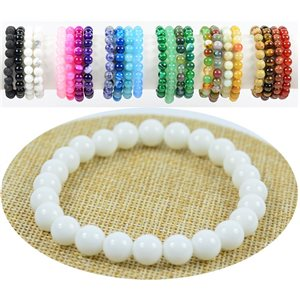 8mm White Agate Stone Beads Bracelet on Elastic Thread 76882