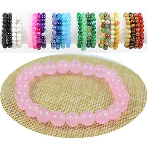 8mm Rose Quartz Stone Beads Bracelet with Elastic Thread 76884