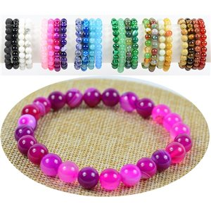 8mm Agate Fuchsia Beads Bracelet on elastic thread 76886