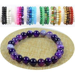 8mm Agate Purple Stone Beads Bracelet on Elastic Thread 76887