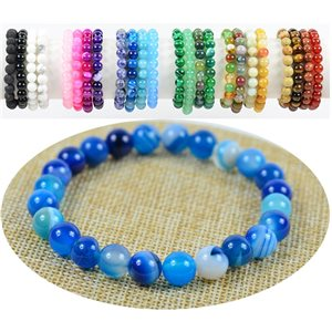 Bracelet Beads 8mm Blue Agate stone on elastic thread 76889