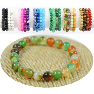 Agate Laguna 8mm Beads Bracelet on elastic thread 76896