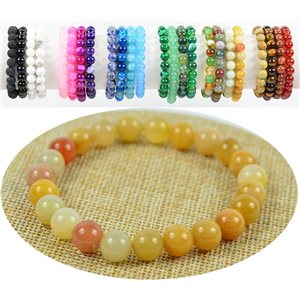 8mm yellow stone Jade beads bracelet on elastic thread 76899