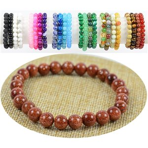 Beads Bracelet 8mm Stone of the Sun on elastic thread 76902