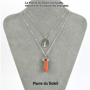 Necklace Door Happiness Pendant 30mm Stone of the Sun on silver chain 76922