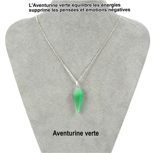 Pendant necklace pendant 30mm green Aventurine stone on silver chain 76917