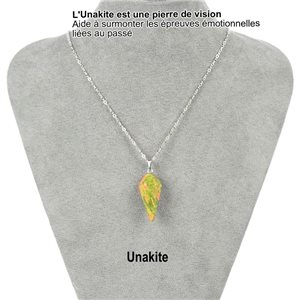 Necklace Pendulum pendant 30mm Unakite stone on silver chain 76918