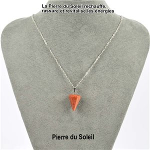 Pendulum Necklace Pendant 20mm Stone of the Sun on silver chain 76911