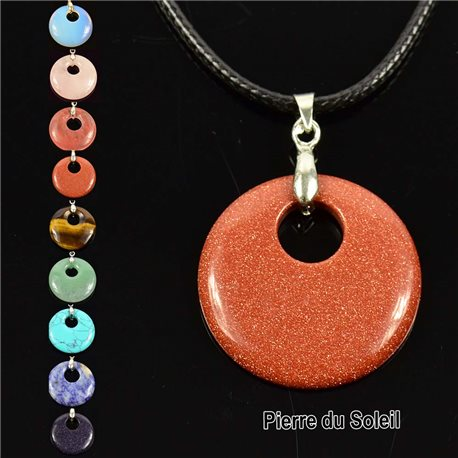 Necklace Donuts Pendant 30mm Sun Stone on waxed cord 76930