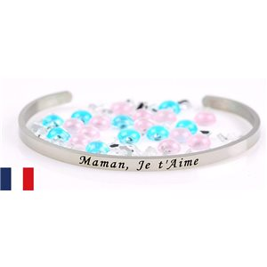Stainless Steel Bangle Message: Maman, Je t'Aime 77299