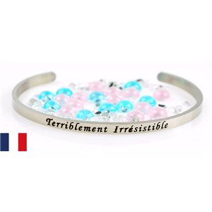 Stainless Steel Bangle Message: Terriblement Irrésistible 77302