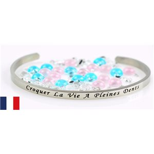 Stainless Steel Bangle Message: Croquer la Vie a Pleine Dents 77303
