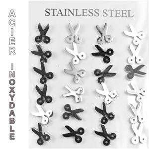 Blister 12p Earrings Stainless Steel Nail Clasp Butterfly 77253