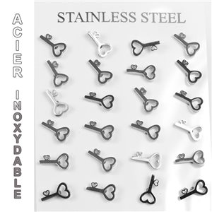 Blister 12p Earrings Stainless Steel Nail Clasp Butterfly 77254