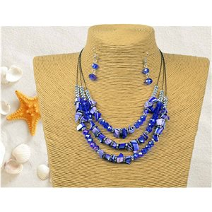 New Collection Parure suspension Collier 3 rang de Perles Coquillages L44-48cm 77160