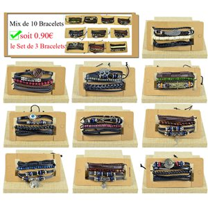 Lot Mix 10 Sets de 3 Bracelets Homme manchette en Cuir synthetique style Biker 0.90€ pièce 77450
