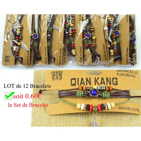 Lot 12 Bracelets Woman multirang on sliding knot Beads and Charms 0.60 € piece 77458