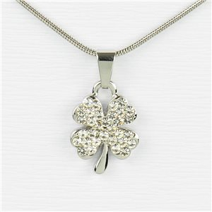 Rhinestone Pendant Necklace IRIS Silver Color Chain snake mesh L40-45cm 77199